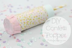 Confetti Popper - Parties for Pennies - - Create your own confetti popper with this easy tutorial! Also included is an easy way to make your own confetti! (Heidi Rew's Parties for Pennies). Confetti Poppers, Diy Confetti, Party Poppers, Baby Gender Reveal Party, Gender Party, Do It Yourself Inspiration, Festa Party, Nye Party, Partys