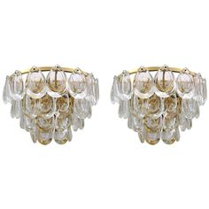 Pair of Sciolari Crystal and Brass Sconces | From a unique collection of antique and modern wall lights and sconces at https://www.1stdibs.com/furniture/lighting/sconces-wall-lights/