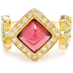 Sabine G 18k Yellow Gold Domi Rosa Ring ($3,350) ❤ liked on Polyvore featuring jewelry, rings, red, travel charms, 18 karat gold jewelry, yellow gold rings, gold jewellery and 18 karat gold ring