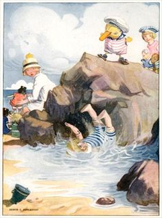 Poor Amy tumbled down right under the sea, illustration from Josephine is Busy, by H.C. Cradock, published by Blackie & Son, Ltd. (colour litho), Appleton, Honor C. (1879-1951)