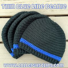 FREE crochet pattern for a Thin Blue Line Beanie by Calleigh's Clips & Crochet Creations.