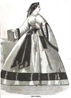 March 1860 Peterson's Magazine - Grey silk dress trimmed with black velvet.