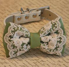 Green Dog Bow Tie, Spring Green wedding, Vintage Wedding, Pet wedding accessory,Wedding accessory, boho wedding, Victorian wedding on Etsy, $35.50
