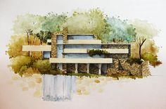Fallingwater House by Blueberry-Kid on deviantART  パースイメージ