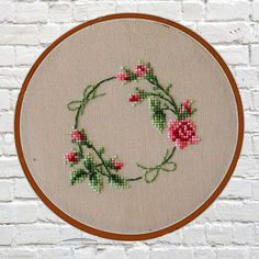 Floral wreath cross stitch pattern pdf instant download digital download vintage cross stitch pdf cross stitch pattern flowers embroidery