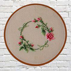 Floral wreath cross stitch pattern pdf instant download digital download vintage cross stitch pdf cross stitch pattern flowers embroidery