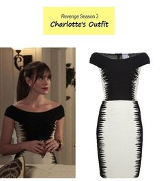 """On the blog - Sneak Peek of Next Week's Ep: Charlotte's (Christa B. Allen) off the shoulder black and white bandage dress 