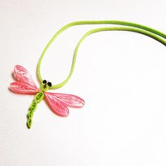 """Quilling Paper Necklace: """"Summer Dragonfly"""""""