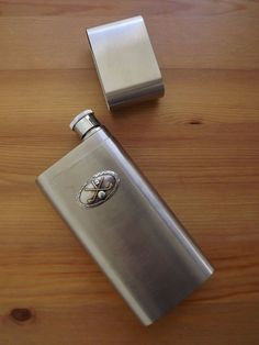 Stainless Steel 2 Finger Cigar Case With Flask Silver Gold Plated Golf Club