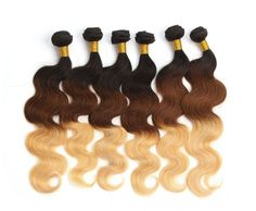 3Tone 1b33#27# Brazilian Real Human Hair Extension Full Head Ombre Haar Wefts 6A #WIGISS #HairExtension