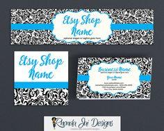 Shop Banner Set Basic Branding Package Bundle - Etsy Shop Cover Basic Branding Set With Business Card Design - Etsy Shop Cover - Damask 4b by RhondaJai on Etsy