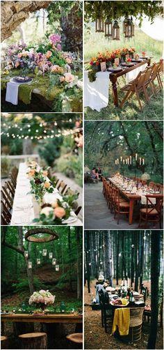 outdoor woodland wedding table decor ideas- forest wedding ideas / http://www.deerpearlflowers.com/woodland-wedding-table-decor-ideas/2/