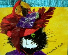 NFAC Animals in Hats Original ACEO Red Hat Lady Cat  CAT-toon mixed media #cartoon