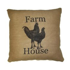 Add a playful touch to your sofa or favorite arm chair with this charming cotton pillow, showcasing a vintage-inspired hen and rooster motif.   ...