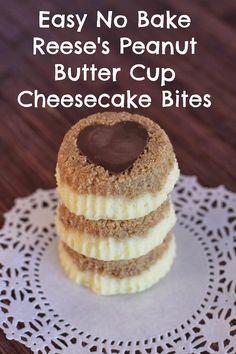Heart peanut butter cup cheesecake bites #recipe #dessert