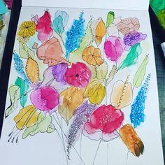 Pelikan watercolours and black fine point marker. Flower Doodles, Watercolours, Markers, Flowers, Black, Art, Art Background, Sharpies, Black People