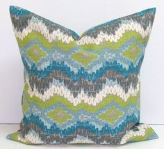 Blue and Green Patterned Pillow Cover http://ift.tt/Z5Hdqn