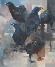 """""""6 Crows"""", Oil on Canvas; 24""""x20"""" by Kirsti Wakelin. Collection of the Artist"""