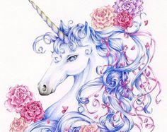 "Unicorn Print ""Ribbons and Roses"" Fantasy Art"
