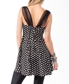 Sheer Strap Polka Dot Dress | FOREVER21 - 2000045809