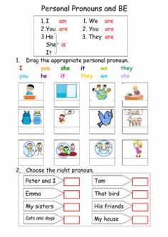 Personal pronouns and BELanguage: EnglishGrade/level: elementarySchool subject: English as a Second Language (ESL)Main content: Verb to beOther contents: English Grammar For Kids, Learning English For Kids, Teaching English Grammar, English Worksheets For Kids, English Lessons For Kids, English Activities, English Vocabulary, Pronoun Worksheets, 1st Grade Worksheets
