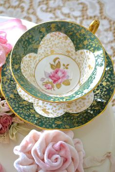 lovely green tea cup and saucer