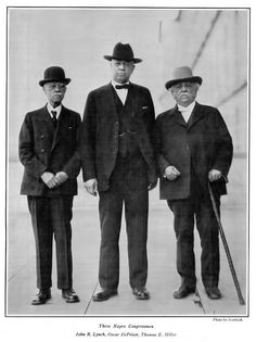 Three Black Congressmen    en.wikipedia.org/wiki/John_R._Lynch  Lynch was a Mississippi congressman during the Reconstruction era. He was born a slave to his white father Patrick Lynch. His mother Catherine White was a slave of mixed European and African heritage.    en.wikipedia.org/wiki/Oscar_DePriest  Oscar Stanton De Priest (March 9, 1871 - May 12, 1951) was an American lawmaker and civil rights advocate who served as a U.S. Representative from Illinois from 1929 to