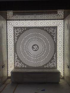 Ideas for wall light art deco spaces Roof Design, House Design, Mandir Design, Yoga Studio Design, Pooja Room Door Design, At Home Movie Theater, Temple Design, Puja Room, Prayer Room