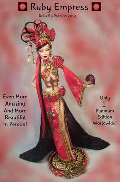 Barbie-Oriental-Asian-Ruby-Red-Empress-Dragon-OOAK-Altered-Custom-Doll-PASSION