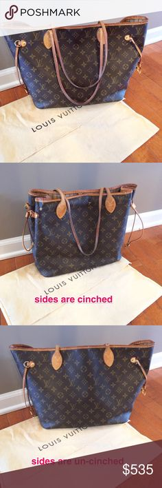 * AUTHENTIC * Louis Vuitton Neverfull • textile lining • natural cowhide leather trim • clean inside and out(no stains or spots) • leather peeling on one side • one of the side straps broke but i think LV can replace it •  dust bag included • please refer to photos and comment below for questions • make me an offer by using the 'offer' button • No trades • Louis Vuitton Bags