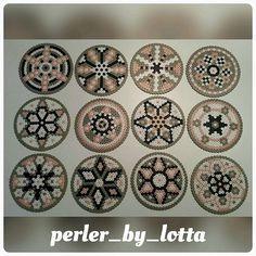 Coaster set perler beads by perler_by_lotta Hama Beads Coasters, Diy Perler Beads, Perler Bead Art, Pearler Beads, Melty Bead Patterns, Hama Beads Patterns, Beading Patterns, Crochet Pixel, Mandala
