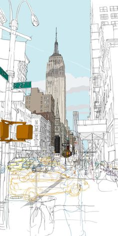 New York - Empire State Building by Rupert Van Wyk Empire State Building, Landscape Drawings, Architecture Drawings, Landscapes, City Illustration, Building Illustration, Technical Illustration, A Level Art, Urban Sketchers