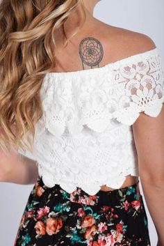 Lotus Boutique - White Lace Boho Crop Top  #CropTops, #NewArrivals, #SpringDreams, #Top, #Tops, #cute, #lace, #scallop #crop #top, #spring, #summer, #white