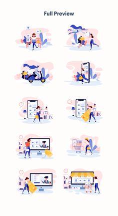Marketing Strategy Discover Lunas : E-commerce Illustration Kit Illustrations on Free Illustration, Flat Design Illustration, People Illustration, Business Illustration, Character Illustration, Game Design, Design Food, Design Design, Design Layouts