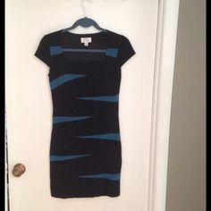 Black and teal dress Black and teal, fitted polyester/spandex dress, very comfy, great dress, in excellent condition! Price negotiable! Dresses