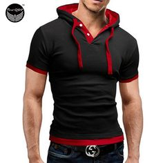 Men'S T Shirt 2016 Summer Fashion Hooded Sling Short Sleeved Tees Male Camisa Masculina Sports T Shirt Slim Tshirt Homme 4XL-in T-Shirts from Men's Clothing & Accessories on Aliexpress.com | Alibaba Group