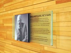 A great, updated way to present a company's heritage and pay homage to past leaders. Office Signage, Wayfinding Signage, Signage Design, Door Signage, Visual Design, Tool Design, Environmental Graphic Design, Environmental Graphics, Architectural Signage