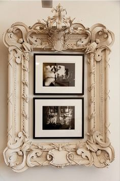 Cool idea to use an older, larger, more ornate frame around smaller pictures in simple frames. Shabby Chic Ireland: Romantic Shabby Chic - Bedroom furniture Think I would prefer a mirror in this beautiful frame or maybe an oil! Romantic Shabby Chic, Shabby Chic Homes, Romantic Cottage, Bedroom Romantic, Shabby Cottage, Decoration Shabby, Shabby Chic Decor, Rustic Decor, Shabby Chic Romantique