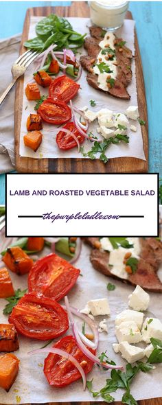Lamb and roasted vegetables salad with spinach leaves, feta cheese, red onion, pine nuts, roast tomatoes, roast pumpkin, parsley and a creamy yoghurt dressing.