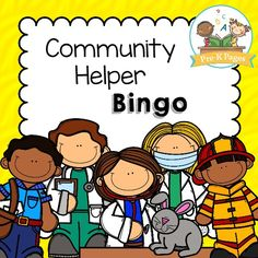 Printable Community Helper Bingo Game for Preschool and Kindergarten. Free printable available in both black and white and color!