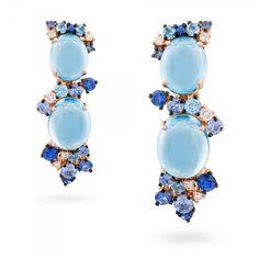 Orecchini oro rosa, diamanti, topazio blu london e zaffiri blu