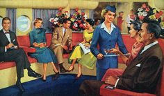 Vintage illustration of the lower airplane lounge of a 1950s B-377 Strato Clipper