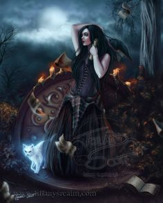 12x15 The Witching Hour  cat autumn fantasy art by TiffanysRealm, $29.99