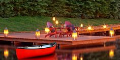 Rustic Inn: A boardwalk protects the properties wetlands and leads to a dock on a small pond.
