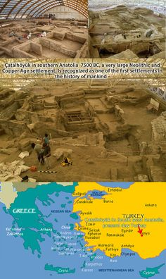 Catal hoyuk was a very large Neolithic and Chalcolithic proto-city settlement in southern Anatolia, which existed from approximately 7500 BC to 5700 BC, and flourished around 7000BC. It is the largest and best-preserved Neolithic site found to date. In July 2012, it was inscribed as a UNESCO World Heritage Site.