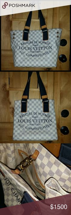 Louis Vuitton Articles De Voyage Bag Limited Edtion signature canvas tote in Damier  Azure. Features inside zipper pocket, inside hook closure, double durable black fabric handles ending with black suede patches on natural leather and outside snaps on each side to make the tote smaller. The exterior is in very good condition showing signs of normal  wear, visable only when examined closely. The interior has some light pen marks and needs cleaning. Which I will have done professionally. No…