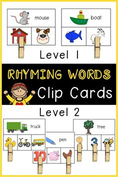 Two levels of rhyming word clip cards are included for differentiated practice! The first level is a set of 28 cards that have a picture and word at the top and two picture choices underneath (with only one being the correct answer). The second level is a set of 28 cards that have a picture and word at the top and three picture choices underneath (with one, two, or all three being correct).
