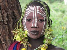 Ethiopia,Surma girl in Kibbish.