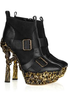 Alexander McQueen Floral-engraved leather ankle boots
