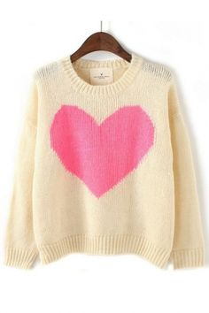 Big Heart Color Blocking Pullover Sweater